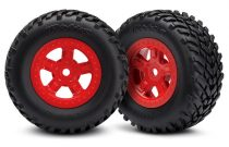 Traxxas Tires and wheels, assembled, glued (SCT red wheels, SCT off-road racing tires) (1 each, right & left)