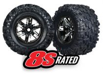Traxxas Tires & wheels, assembled, glued (X-Maxx® black chrome wheels, Maxx® AT tires, foam inserts) (left & right) (2)