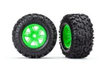 Traxxas Tires & wheels, assembled, glued (X-Maxx® green wheels, Maxx® AT tires, foam inserts) (left & right) (2)