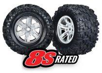 Traxxas  Tires & wheels, assembled, glued (X-Maxx® satin chrome wheels, Maxx® AT tires, foam inserts) (left & right) (2)