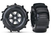 Traxxas Tires & wheels, assembled, glued (X-Maxx® black wheels, paddle tires, foam inserts) (left & right) (2)