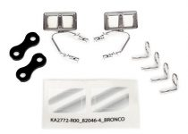 Traxxas Mirrors, side, chrome (left & right)/ retainers (2)/ body clips (4) (fits #8010 body)