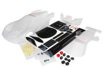 Traxxas Body, Ford GT® (clear, requires painting)/ decal sheet (includes tail lights, exhaust tips, & mounting hardware)