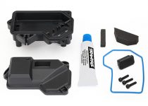Traxxas Box, receiver (sealed) (steering servo mount)/ receiver cover/ access plug/ foam pads/ silicone grease/ 2.5x10 CS (3)