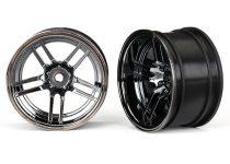 """Traxxas Wheels, 1.9"""" split-spoke (black chrome) (wide, rear) (2)"""