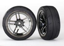"Traxxas Tires and wheels, assembled, glued (split-spoke black chrome wheels, 1.9"" Response tires) (front) (2)"