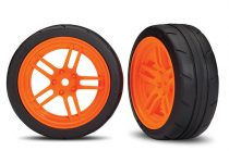 """Traxxas Tires and wheels, assembled, glued (split-spoke orange wheels, 1.9"""" Response tires) (front) (2) (VXL rated)"""