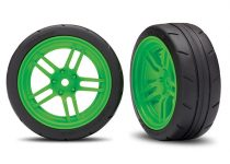 """Traxxas Tires and wheels, assembled, glued (split-spoke green wheels, 1.9"""" Response tires) (front) (2) (VXL rated)"""