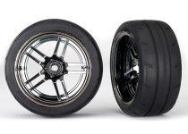 "Traxxas Tires and wheels, assembled, glued (split-spoke black chrome wheels, 1.9"" Response tires) (extra wide, rear) (2)"