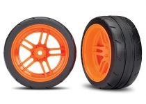 """Traxxas Tires and wheels, assembled, glued (split-spoke orange wheels, 1.9"""" Response tires) (extra wide, rear) (2) (VXL rated)"""