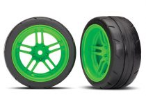 """Traxxas Tires and wheels, assembled, glued (split-spoke green wheels, 1.9"""" Response tires) (extra wide, rear) (2) (VXL rated)"""