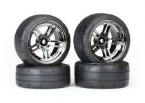 """Traxxas Tires & wheels, assembled, glued (split-spoke black chrome wheels, 1.9"""" Response tires, foam inserts) (front (2), rear (extra wide) (2)) (VXL rated)"""