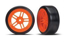 "Traxxas Tires and wheels, assembled, glued (split-spoke orange wheels, 1.9"" Drift tires) (front)"