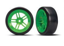 "Traxxas Tires and wheels, assembled, glued (split-spoke green wheels, 1.9"" Drift tires) (front)"