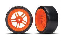 "Traxxas Tires and wheels, assembled, glued (split-spoke orange wheels, 1.9"" Drift tires) (rear)"