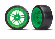 "Traxxas Tires and wheels, assembled, glued (split-spoke green wheels, 1.9"" Drift tires) (rear)"