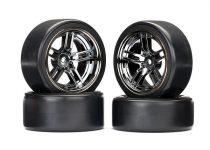"Traxxas Tires and wheels, assembled, glued (split-spoke black chrome wheels, 1.9"" Drift tires) (front and rear)"
