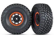 Traxxas Tires and wheels, assembled, glued (Desert Racer® wheels, black with orange beadlock, BFGoodrich® Baja KR3 tires) (2)