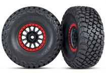 Traxxas Tires and wheels, assembled, glued (Method Race Wheels, black with red beadlock, BFGoodrich® Baja KR3 tires) (2)