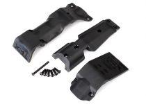 Traxxas  Skid plate set, front/ skid plate, rear/ 3x10 BCS (6)/ 3x30 BCS (1) (fits #8629 & 8630 bulkheads)