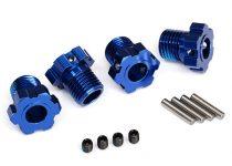 Traxxas Wheel hubs, splined, 17mm (blue-anodized) (4)/ 4x5 GS (4), 3x14mm pin (4)