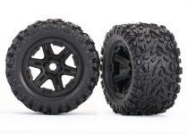 Traxxas Tires & wheels, assembled, glued (black wheels, Talon EXT tires, foam inserts) (2) (17mm splined) (TSM rated)