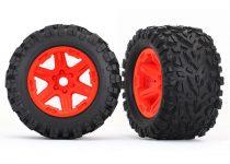 Traxxas Tires & wheels, assembled, glued (orange wheels, Talon EXT tires, foam inserts) (2) (17mm splined) (TSM rated)