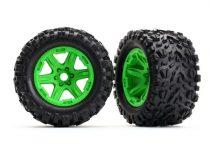 Traxxas Tires & wheels, assembled, glued (green wheels, Talon EXT tires, foam inserts) (2) (17mm splined) (TSM rated)