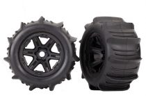 """Traxxas Tires & wheels, assembled, glued (black 3.8"""" wheels, paddle tires, foam inserts) (2) (TSM rated)"""