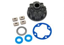 Traxxas Carrier, differential (heavy duty)/ x-ring gaskets (2)/ ring gear gasket/ spacers (4)/ 12.2x18x0.5 PTFE-coated washer (1)
