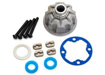 Traxxas Carrier, differential (aluminum)/ x-ring gaskets (2)/ ring gear gasket/ spacers (4)/ 12.2x18x0.5 metal washer