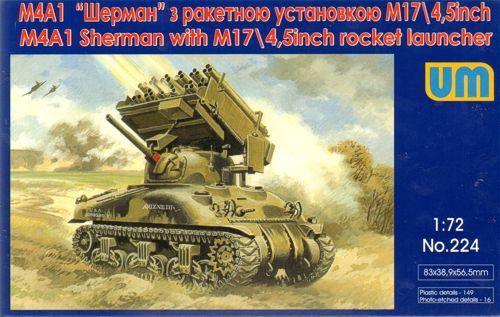 Unimodels Tank M4A1 w. M17/4,5inch rocket launcher makett