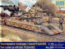 Unimodels Tank carrier car with Pz.Kpfw. 38(t) makett