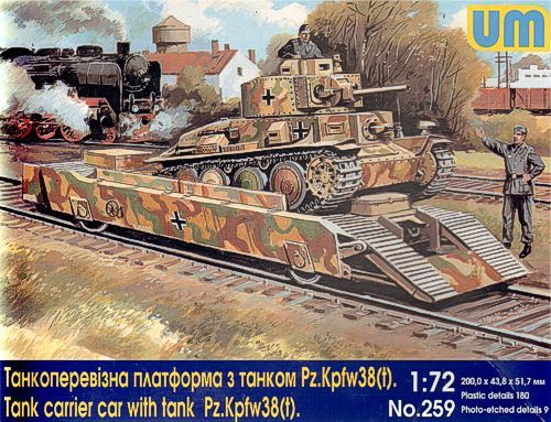 Unimodels Tank carrier car with Pz.Kpfw. 38(t)