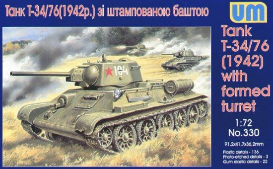 Unimodels Tank T-34/76 (1942) with formed turret makett