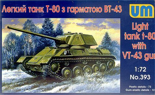 Unimodels T-80 Soviet light tank with gun VT-43 makett