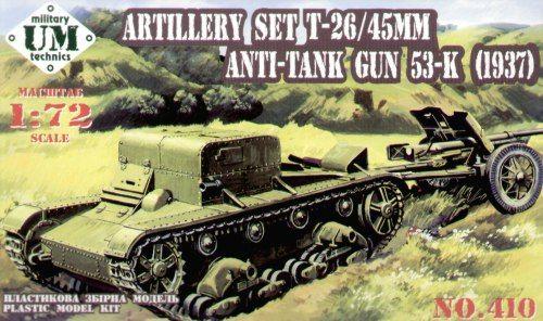 Unimodels Artillery T-26T 45mm Antitank gun 53-K (1937) makett
