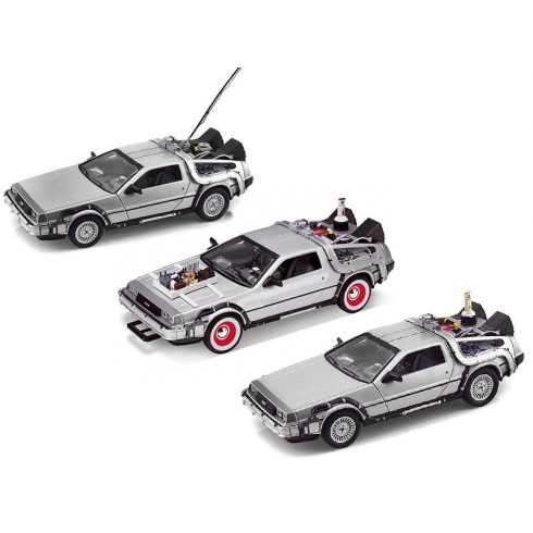 WELLY DELOREAN SET 3 x TIME MACHINE - BACK TO THE FUTURE 1 - 2 - 3